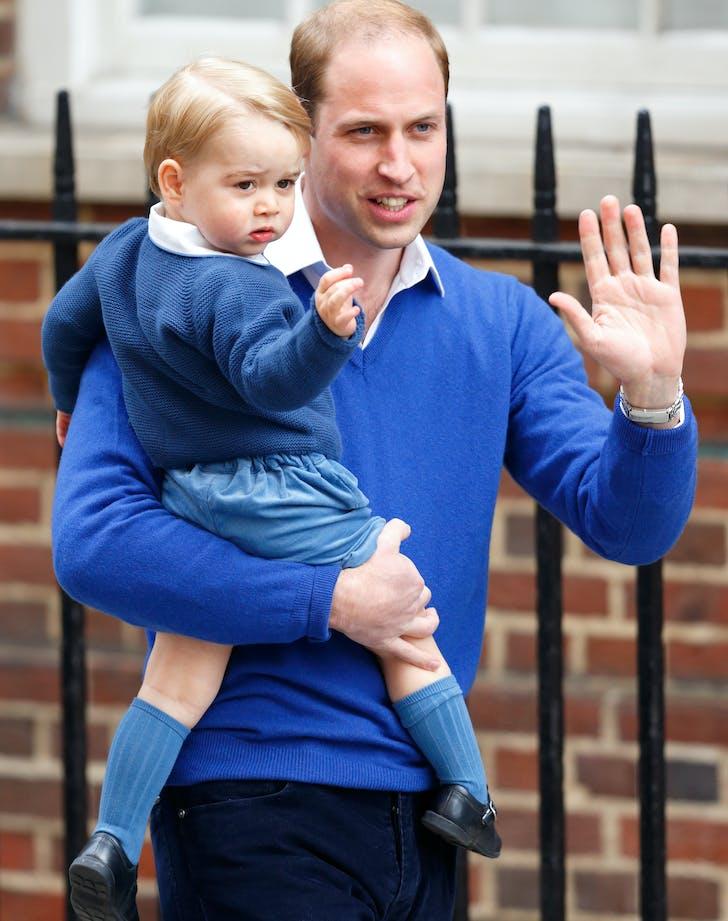 Prince William teaching Prince George to wave