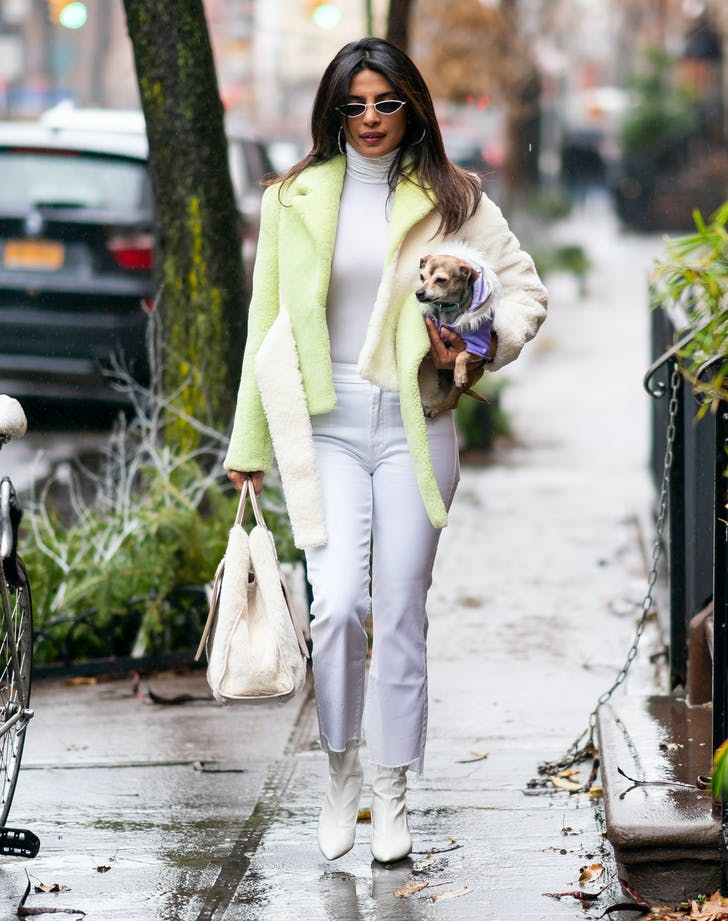 Priyanka Chopra in white outfit walking with dog.l