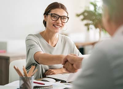 Woman on job interview 400