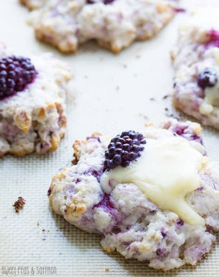 blackberry scones with walnuts and brie