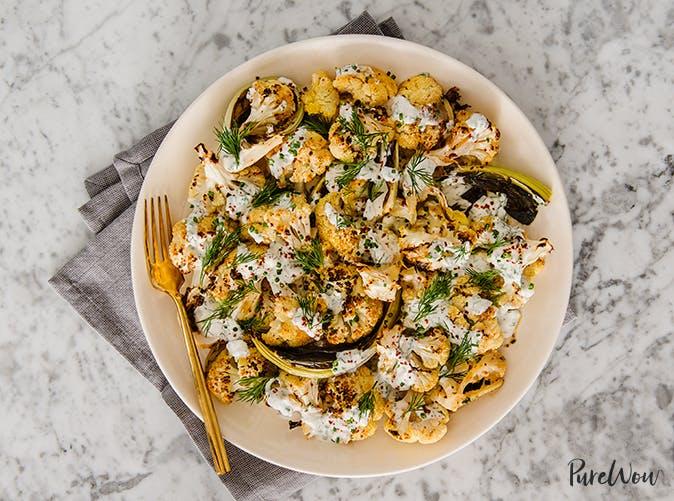 charred cauliflower with tahini ranch recipe