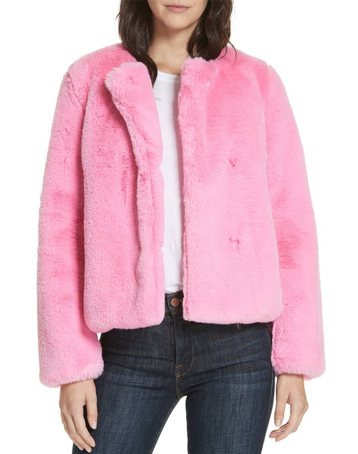 collarless faux fur coat from milly