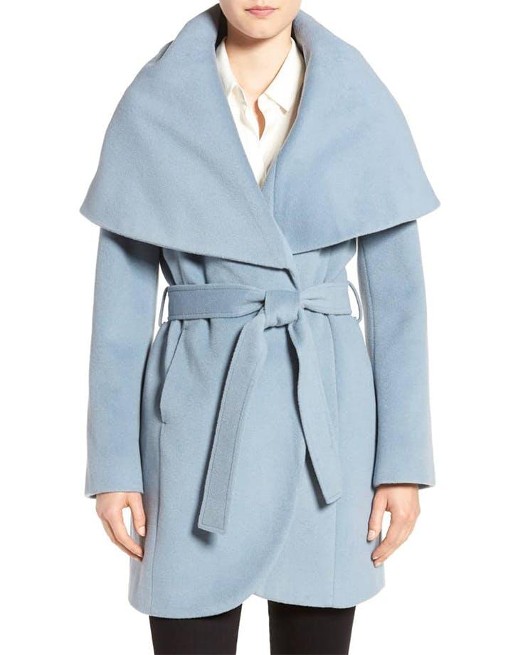 draped collar coat from t tahari