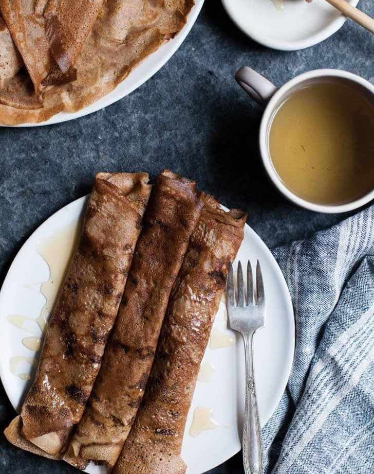 hazelnut chestnut crepes with brie