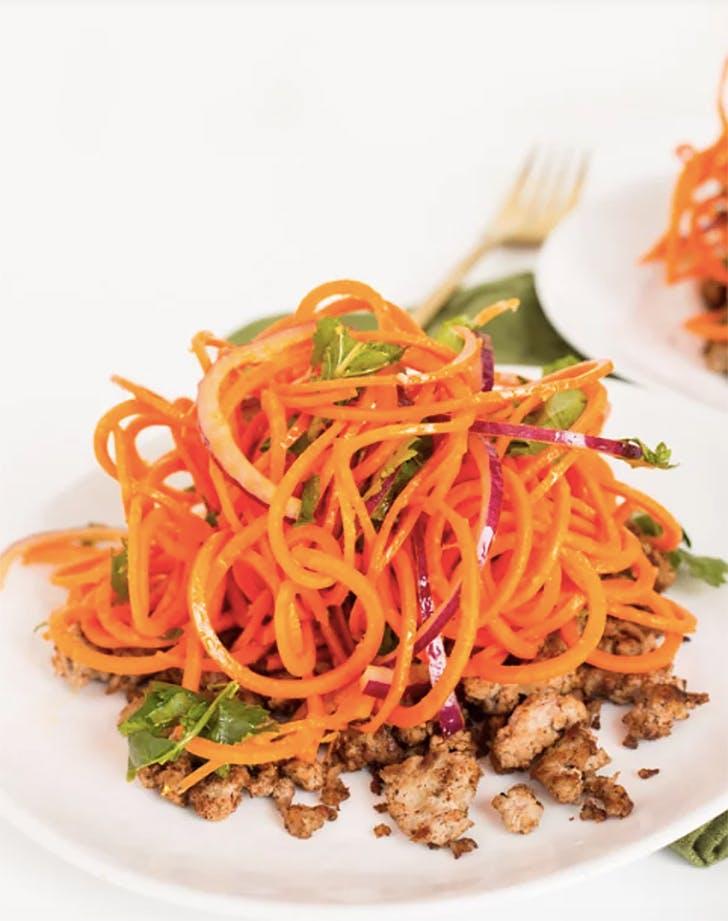 indian carrot noodle salad spiced lamb recipe