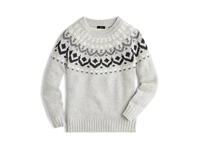 jcrew fair isle gray sweater