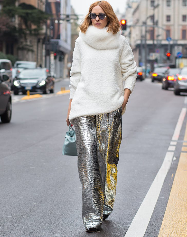 metallic pants january winter outfit ideas