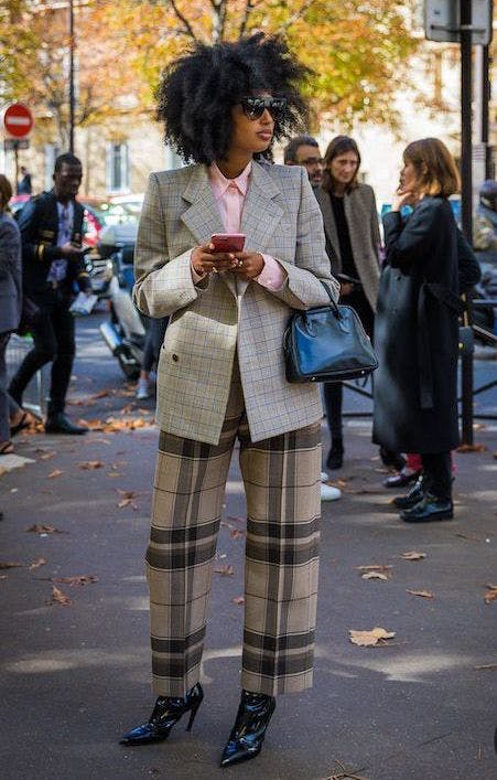 mix plaids prints january winter outfit ideas
