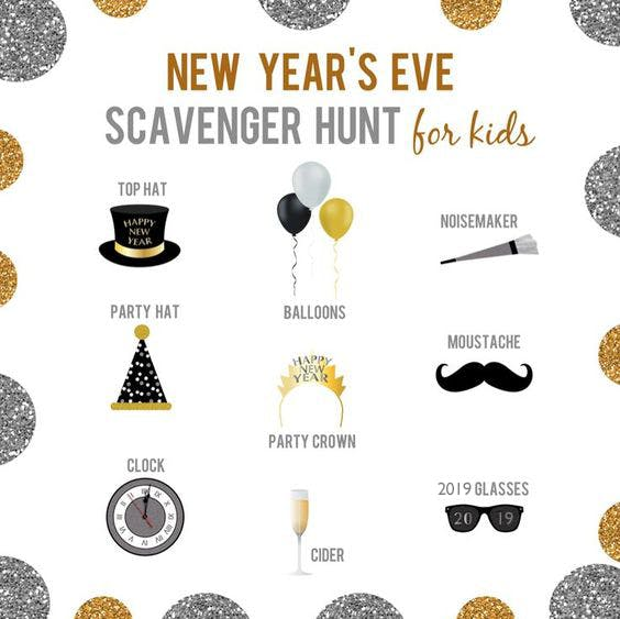 noon years eve kids scavenger hunt