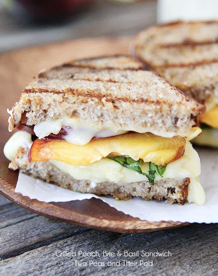 peach basil brie sandwich