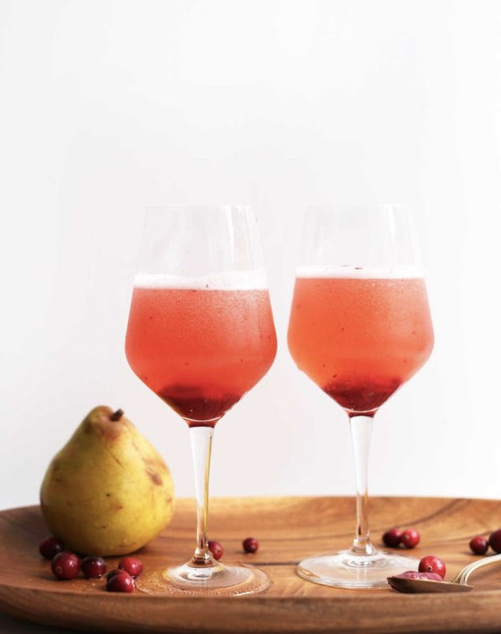pear and chramberry champagne cocktail