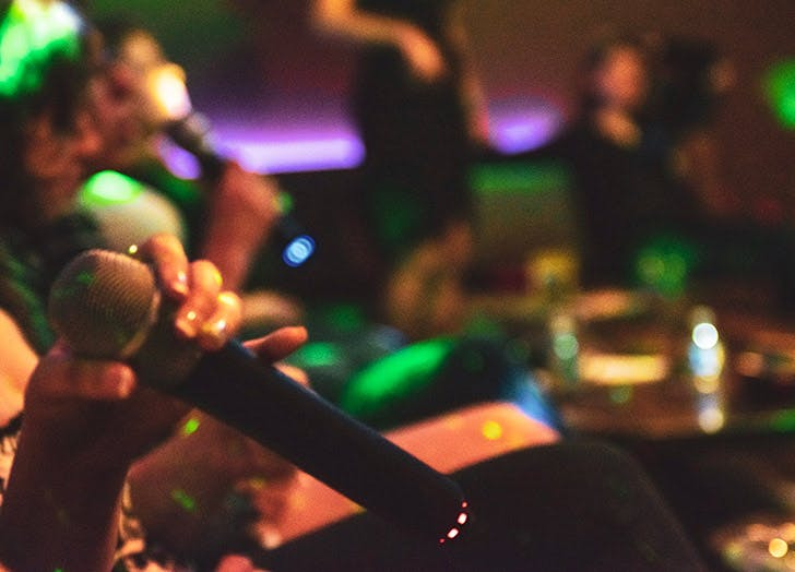 people singing karaoke