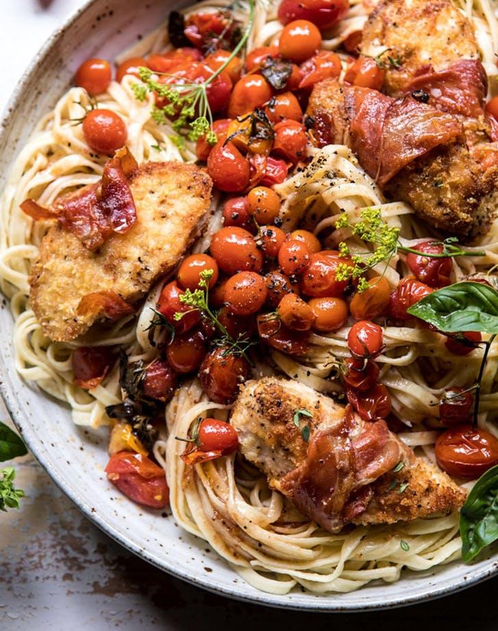 prosciutto baked chicken garlic butter tomato pasta recipe