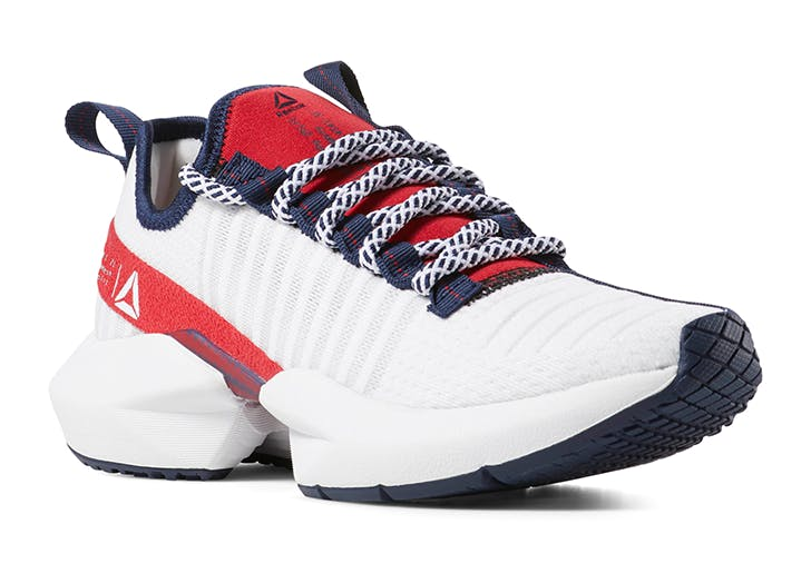 reebok red navy and white sneakers