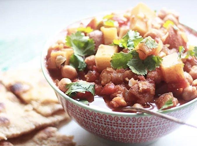 slow cooker vegan chickpeas potatoes