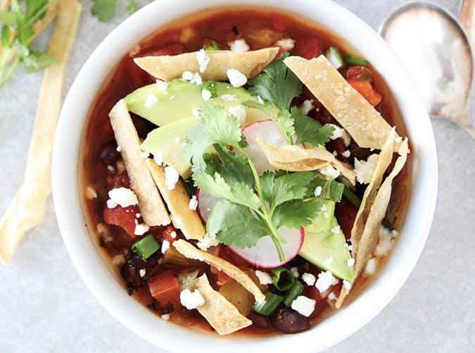 slow cooker vegan tortilla soup