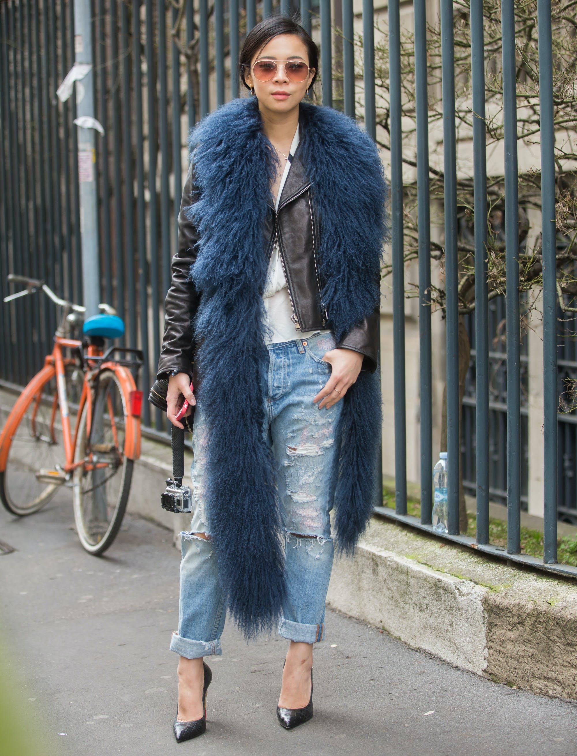 woman wearing a faux fur scarf