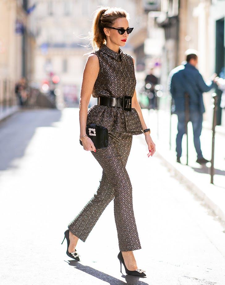woman wearing a glittery matching set