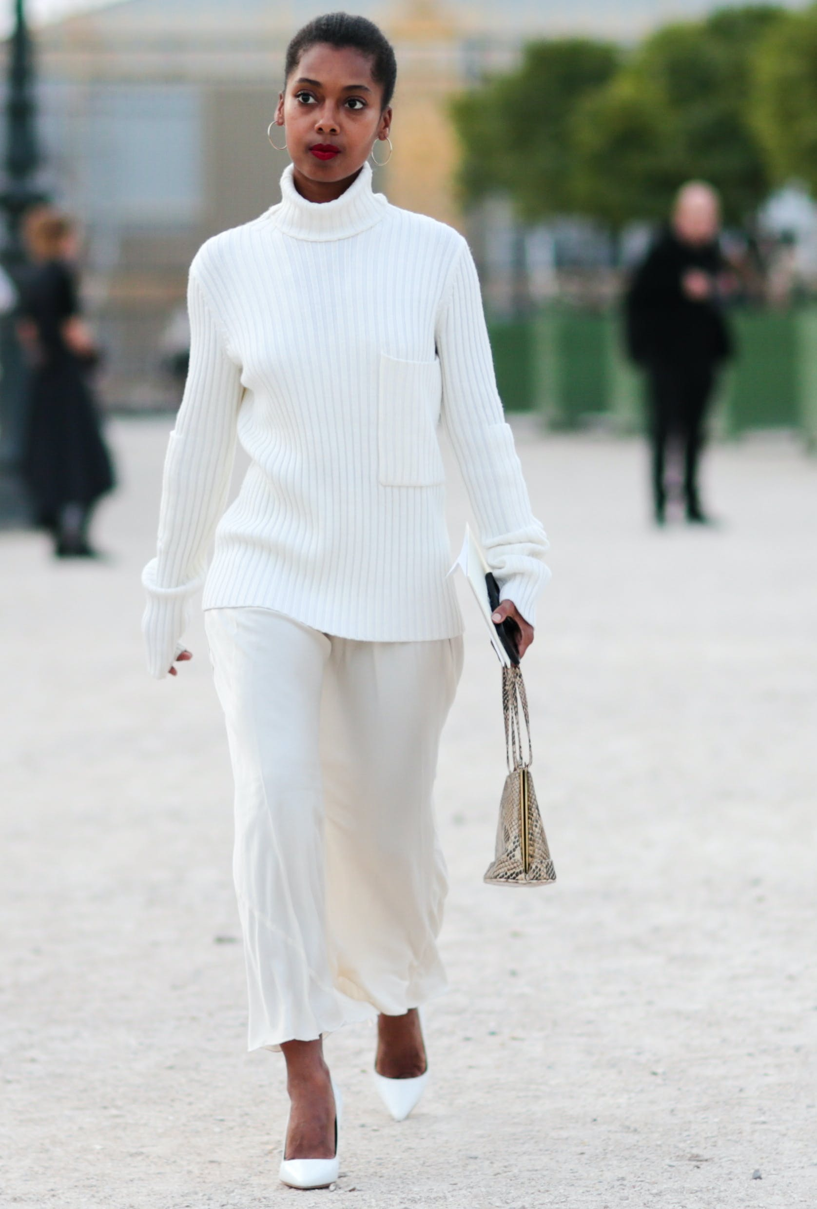 woman wearing all winter white