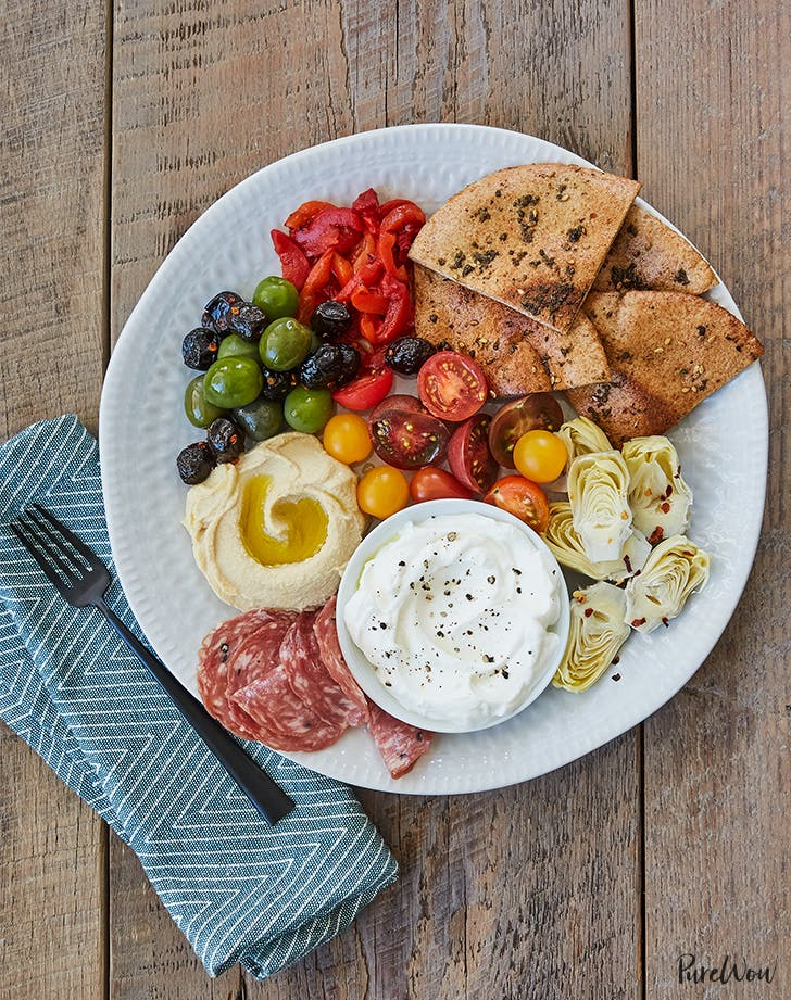 15-Minute Mezze Plate with Toasted Zaatar Pita Bread