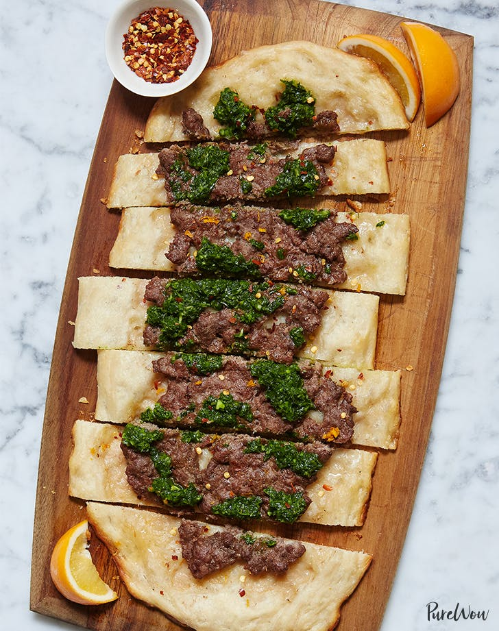 Beef Flatbread with Herb Sauce