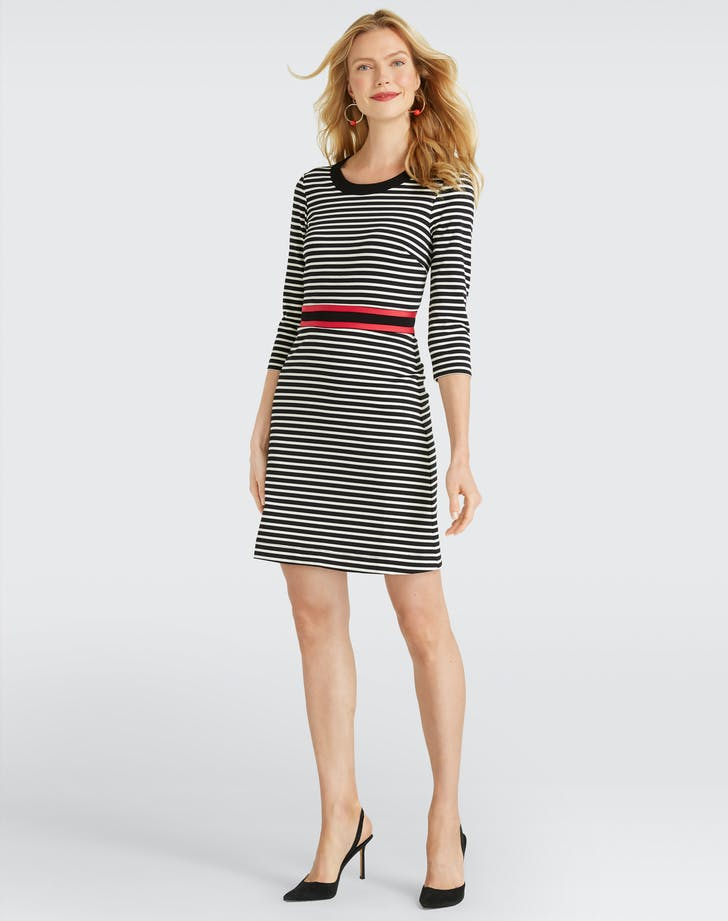 Draper James Long Sleeve Stripe Persley Ponte Dress