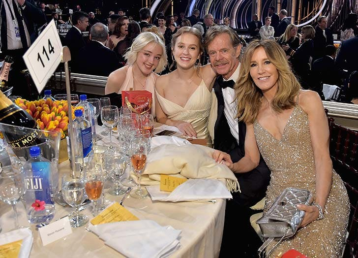 Felicity Huffman and William H Macy with daughters at Golden Globes