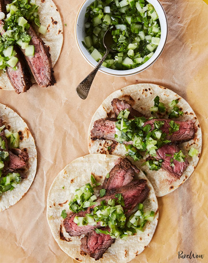 Flank Steak Tacos with Cucumber Salsa