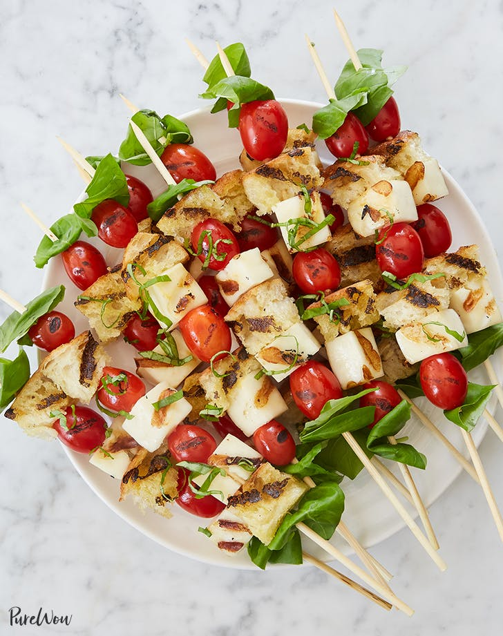 Grilled Caprese Skewers with Halloumi and Sourdough