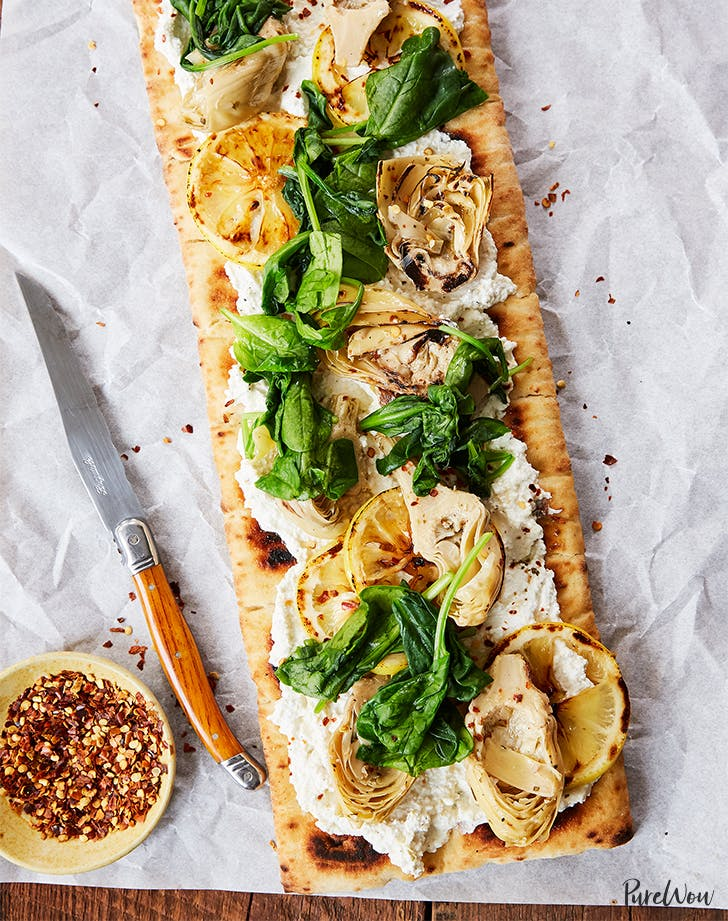 Grilled Flatbread Pizza with Artichoke, Ricotta and Lemon
