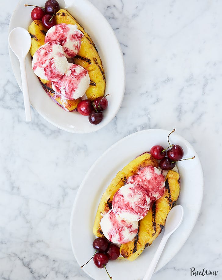 Grilled Pineapple Split Sundae with Cherry Sauce