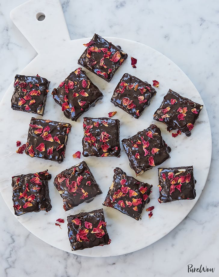 No-Bake, Gluten-Free Rose Petal Brownies