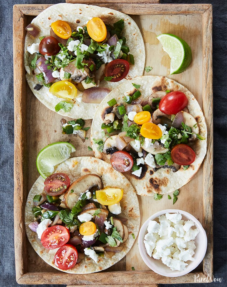 Poblano and Mushroom Tacos with Tomatoes and Goat Cheese