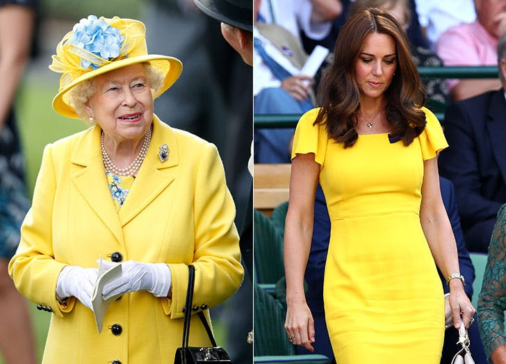 Queen Eliz and Kate Middleton Canary Yellow