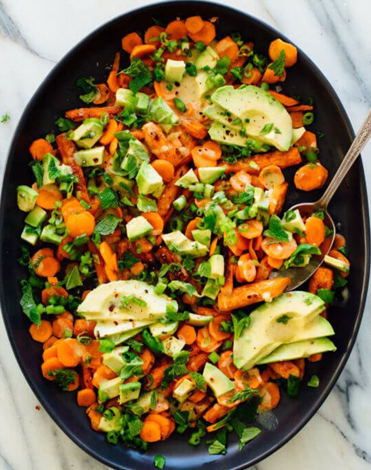 Roasted and Raw Carrot Salad with Avocado