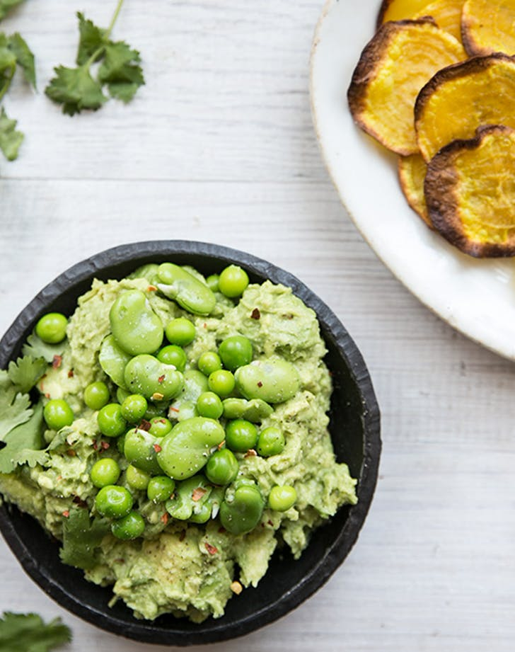 Spring Pea and Fava Bean Guacamole with Root Chips