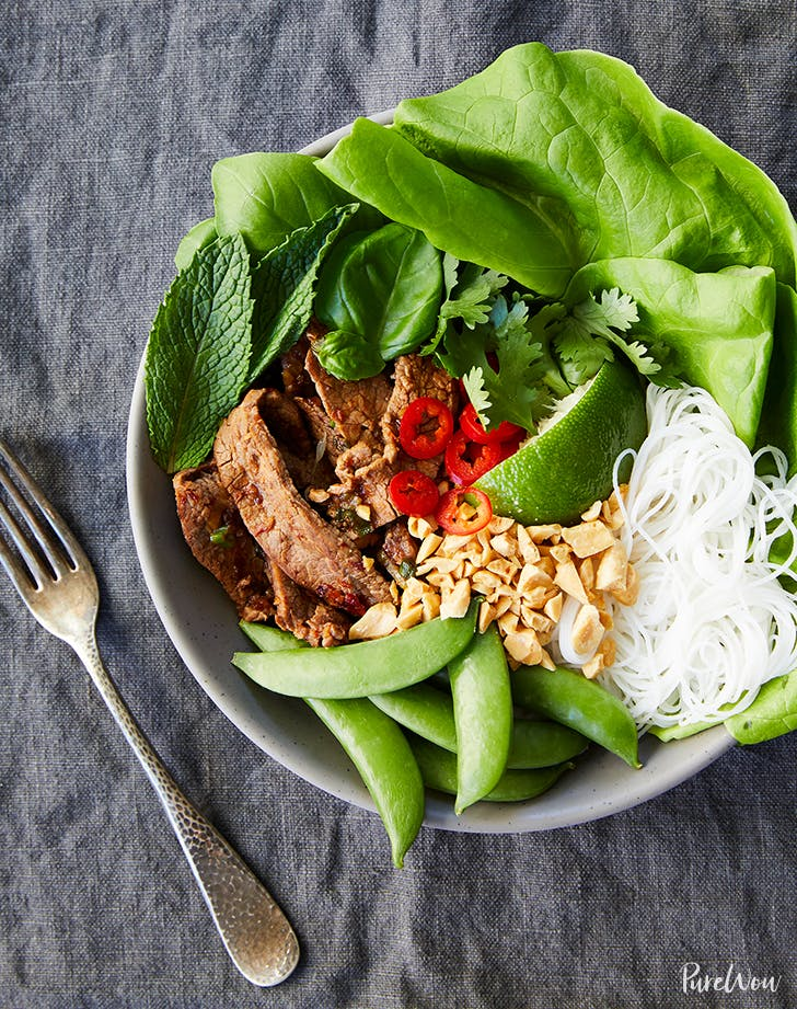 Thai Beef Bowls with Rice Noodles