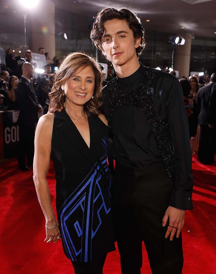 Timothee Chalamet and his mom at the Golden Globes