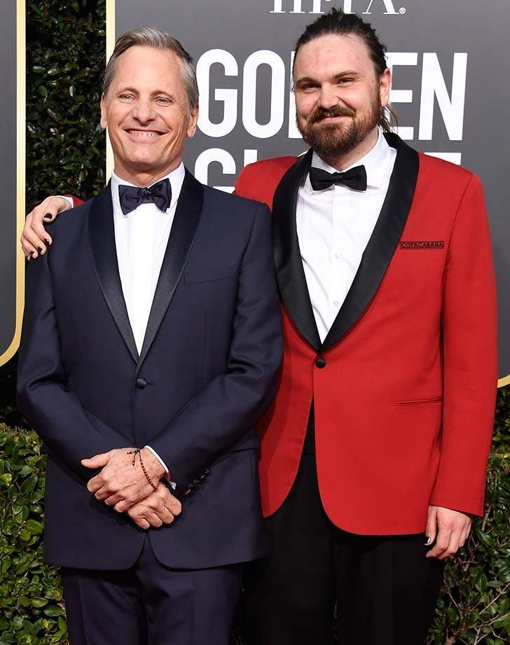 Viggo Mortensen and his son at Golden Globes