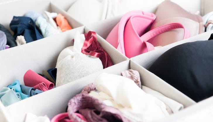 an organized bra and undies drawer