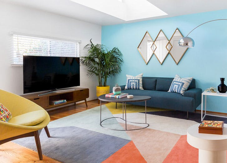 blue living room credenza