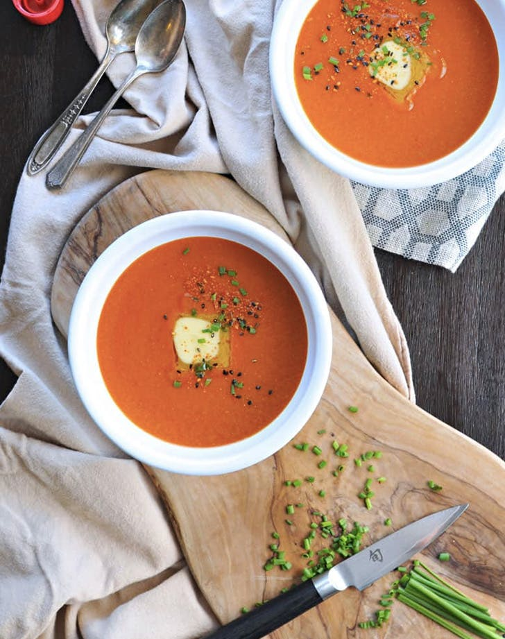 buttered miso tomato soup with roasted garlic recipe