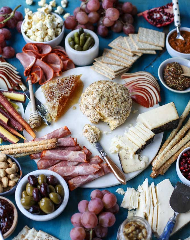butternut squahs cheese ball and holiday cheese board