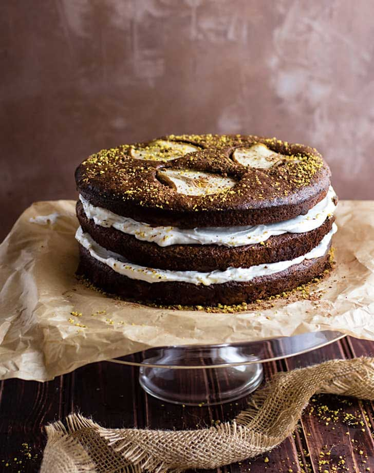 chocolate pistachio pear naked cake