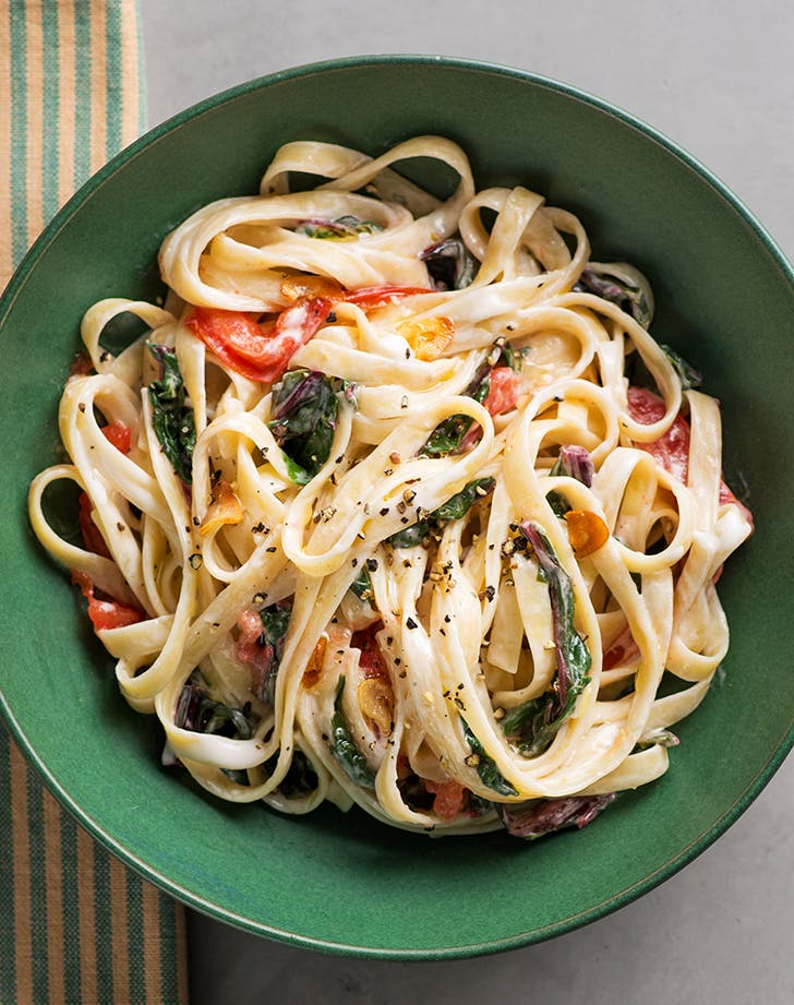 Creamy Vegan Pasta with Swiss Chard and Tomatoes