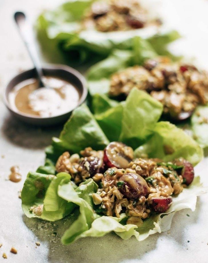 creamy peanut miso chicken lettuce wraps recipe