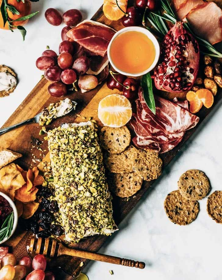 diary free cranberry rosemary cheese roll charcuterie board