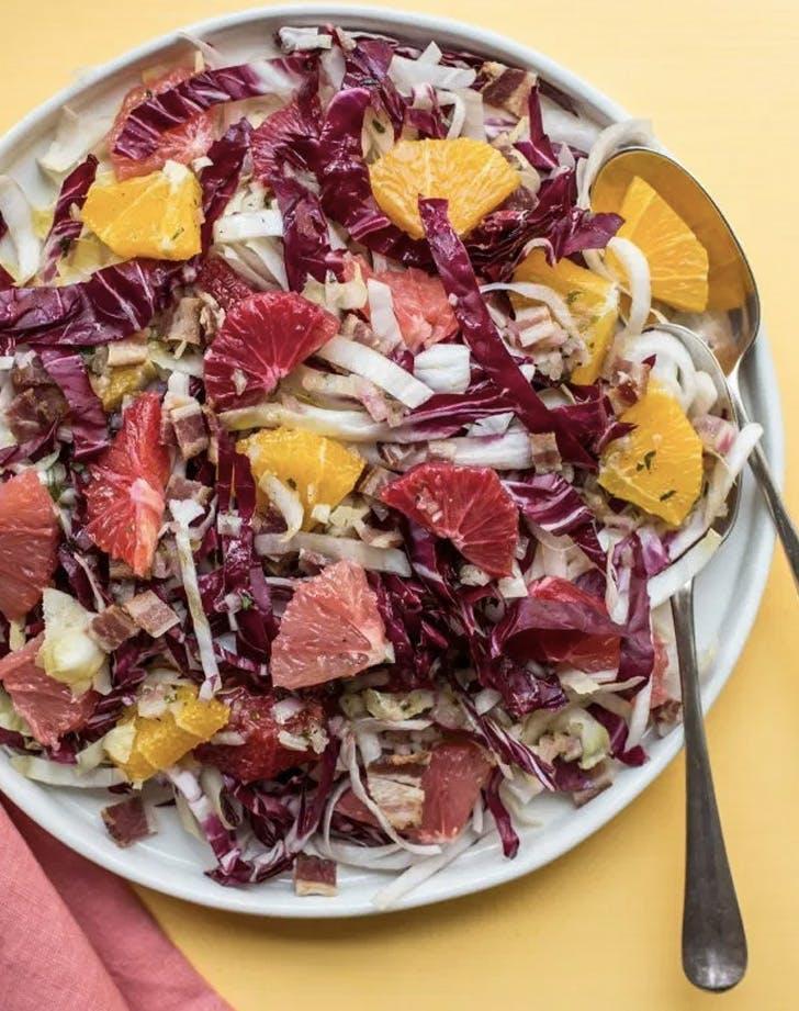 endive radicchio and citrus salad with bacon vinaigrette recipe
