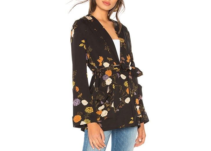 free people floral print robe jacket