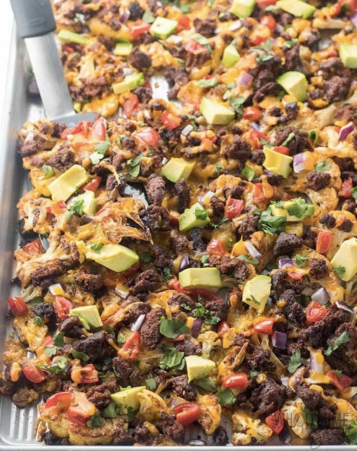 ground turkey cauliflower nachos